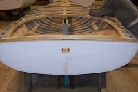 Forward parts(mast step, mast partner)are fastened in and deck structure and natural cedar cockpit are installed.